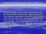supplying electricity for a nation