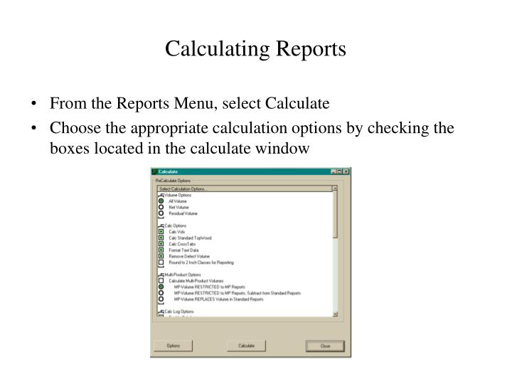 Calculating Reports