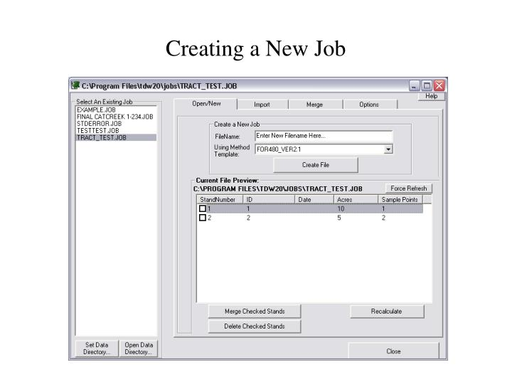 Creating a New Job