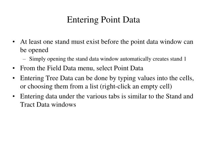 Entering Point Data