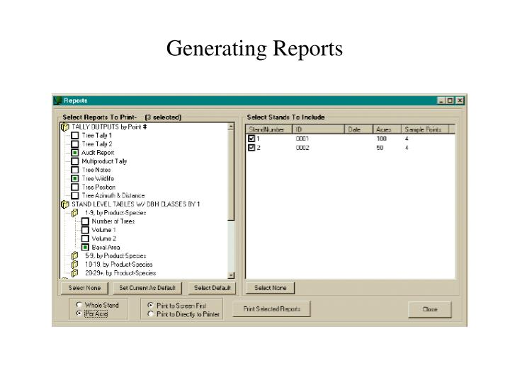 Generating Reports