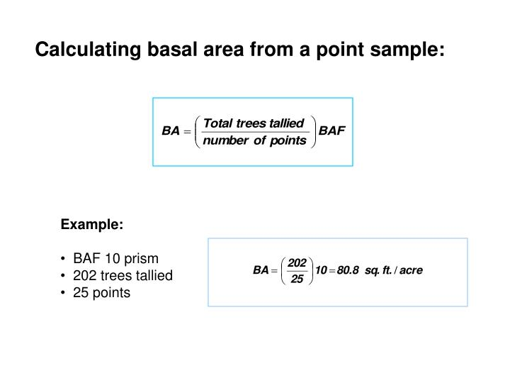 Calculating basal area from a point sample: