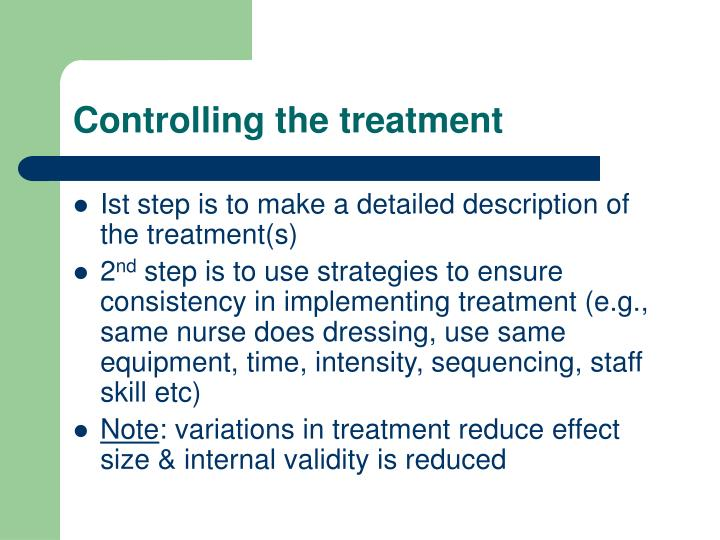 Controlling the treatment
