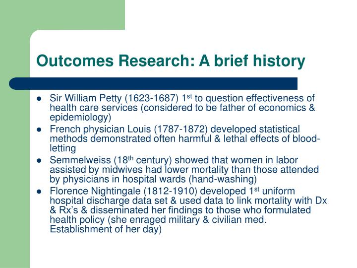 Outcomes Research: A brief history