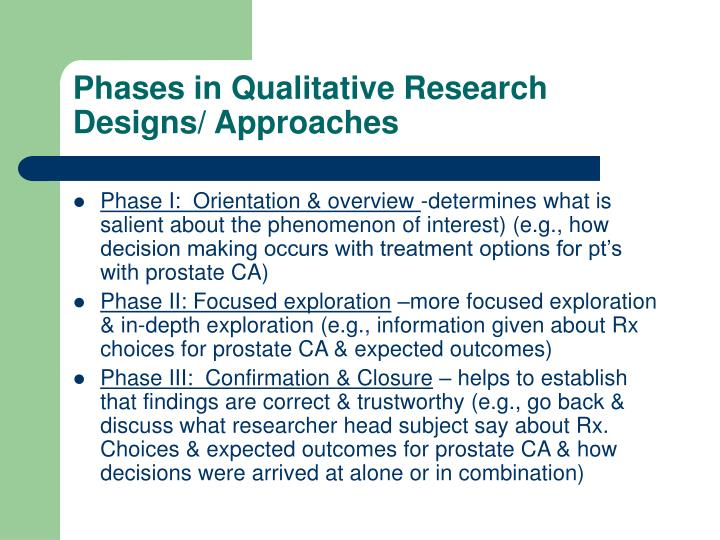 Phases in Qualitative Research Designs/ Approaches