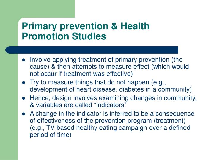 Primary prevention & Health Promotion Studies
