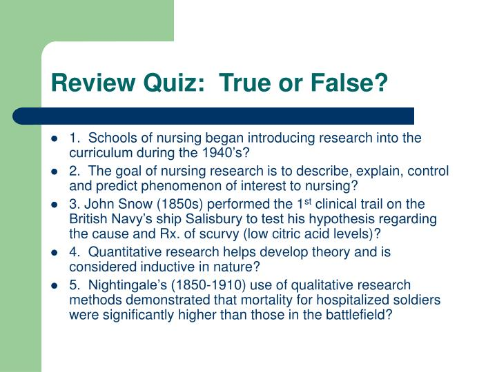 Review Quiz:  True or False?