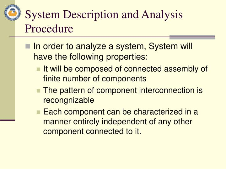 System Description and Analysis Procedure