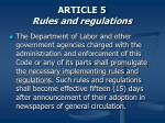 article 5 rules and regulations