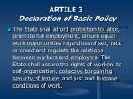 artile 3 declaration of basic policy