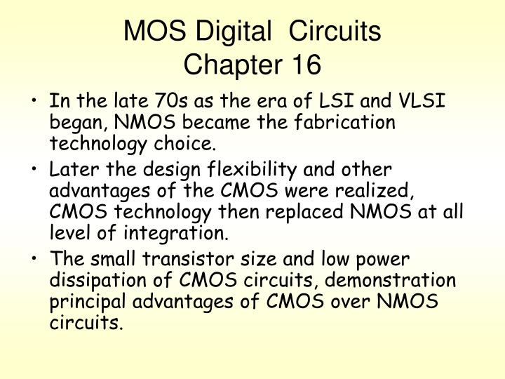 Mos digital circuits chapter 16