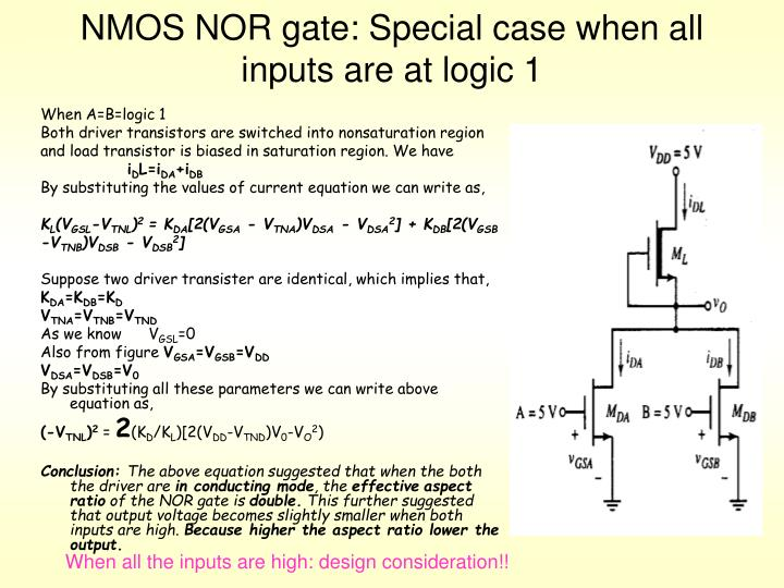 NMOS NOR gate: Special case when all inputs are at logic 1