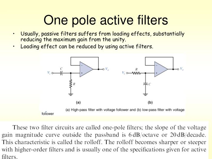 One pole active filters
