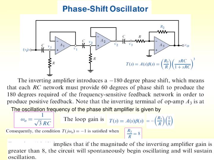 The oscillation frequency of the phase shift amplifier is given by