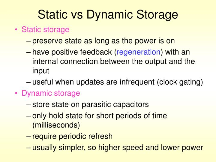 Static vs Dynamic Storage