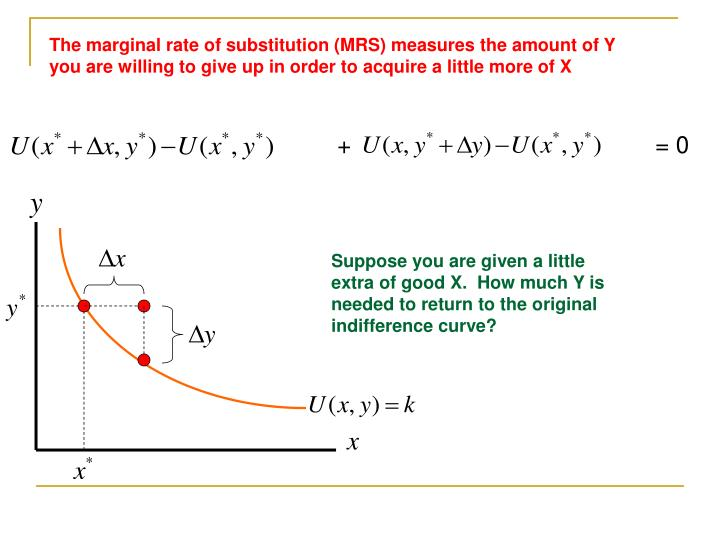 The marginal rate of substitution (MRS) measures the amount of Y you are willing to give up in order to acquire a little more of X