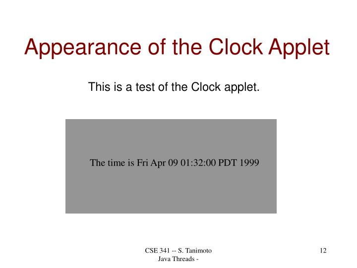 Appearance of the Clock Applet