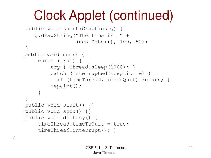 Clock Applet (continued)