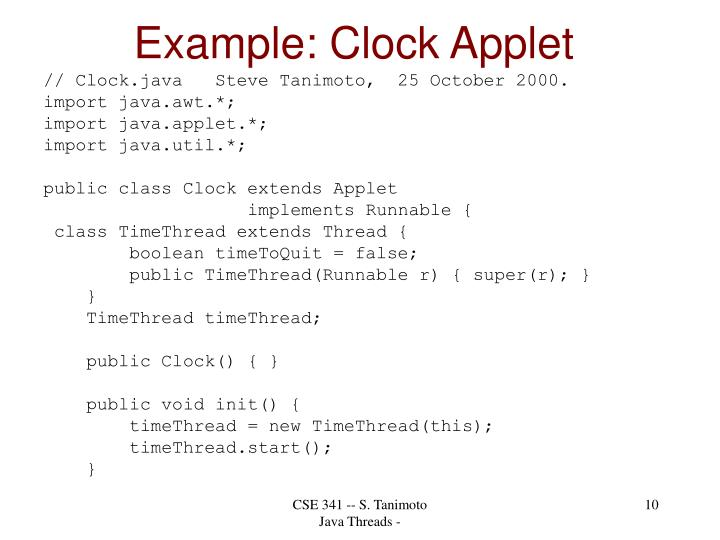 Example: Clock Applet