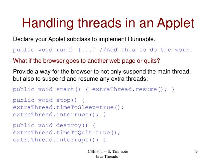 Handling threads in an Applet