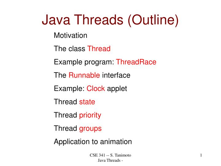 Java threads outline