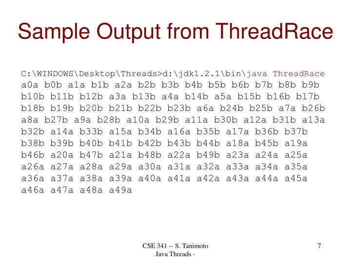 Sample Output from ThreadRace
