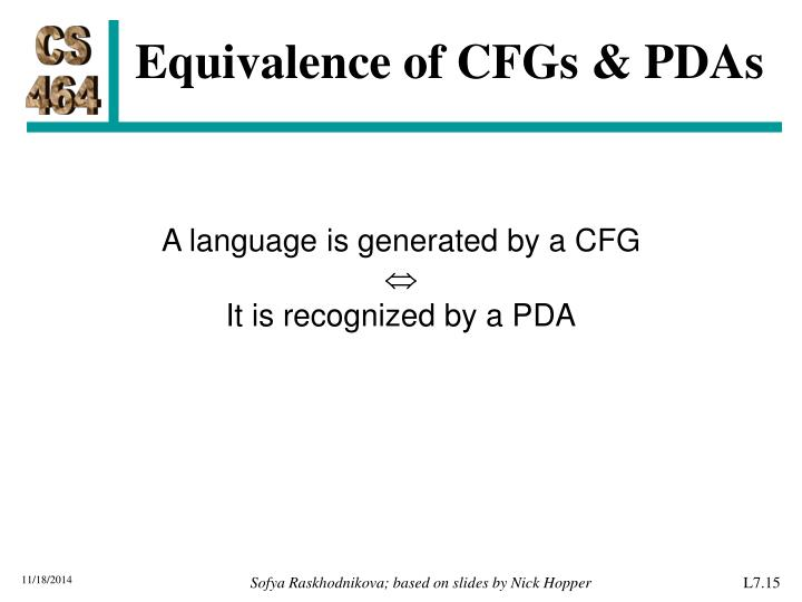 Equivalence of CFGs & PDAs