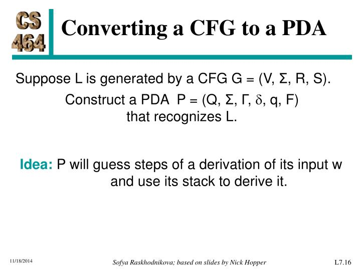 Converting a CFG to a PDA