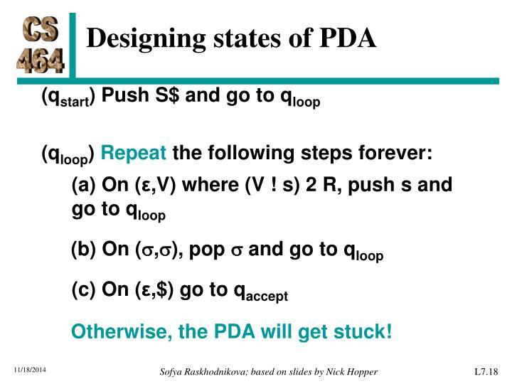 Designing states of PDA