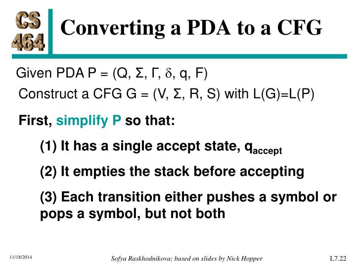Converting a PDA to a CFG