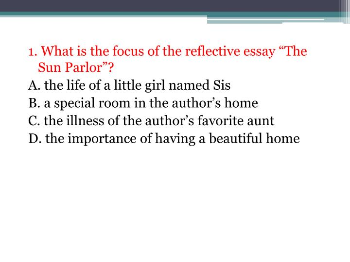 "1. What is the focus of the reflective essay ""The Sun Parlor""?"