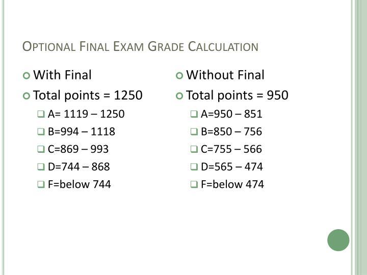 Optional Final Exam Grade Calculation