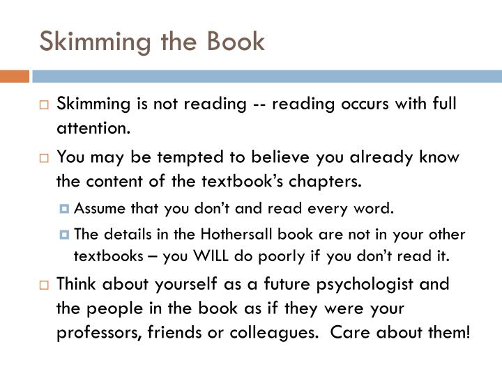 Skimming the Book