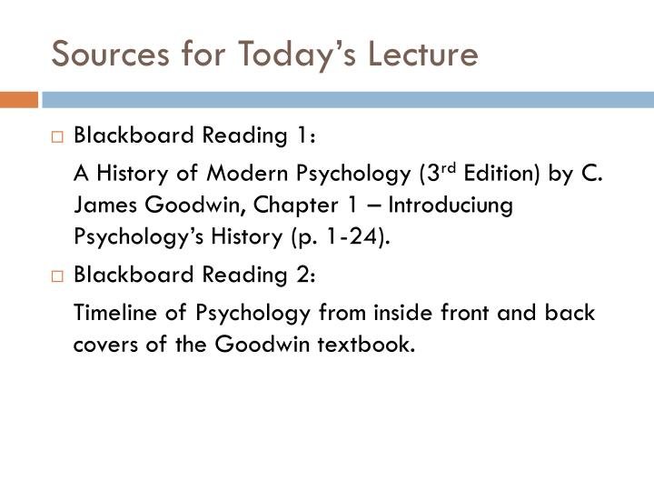 Sources for Today's Lecture