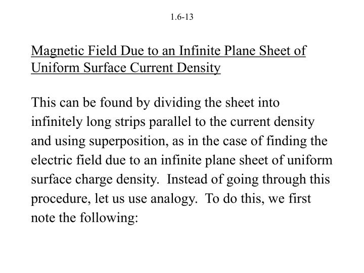 Magnetic Field Due to an Infinite Plane Sheet of Uniform Surface Current Density