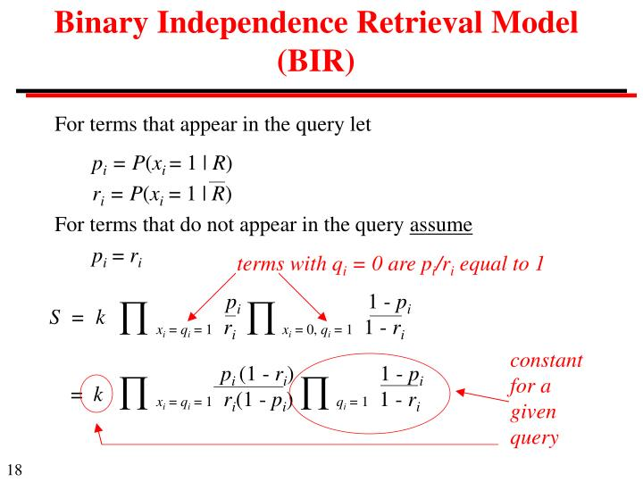 Binary Independence Retrieval Model (BIR)