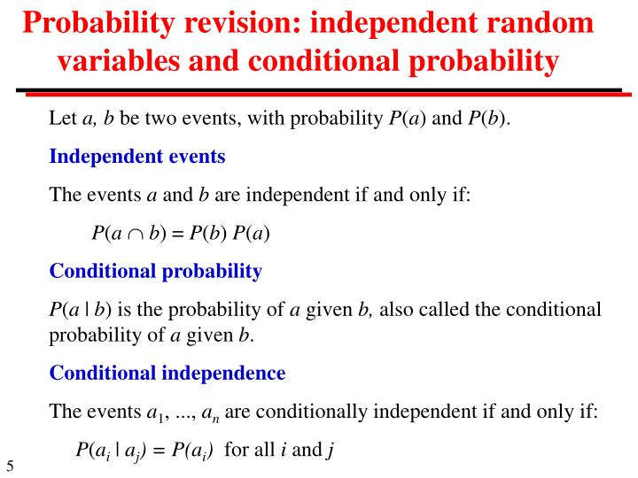 Probability revision: independent random variables and conditional probability