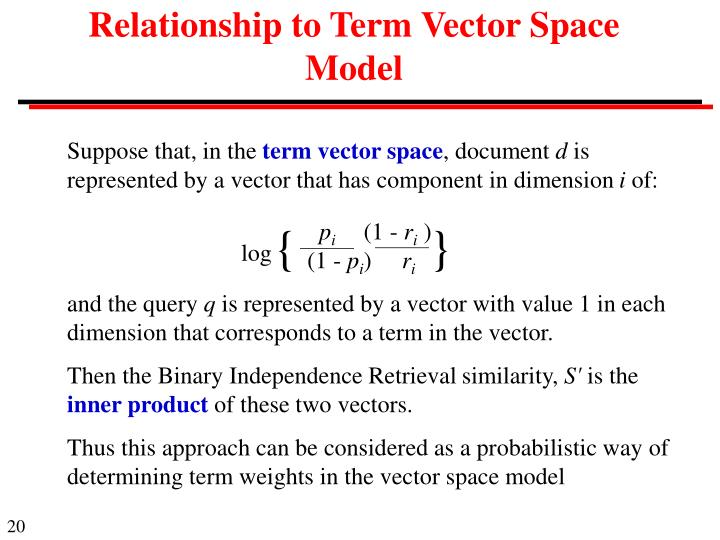 Relationship to Term Vector Space Model
