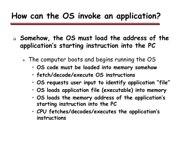 How can the OS invoke an application?