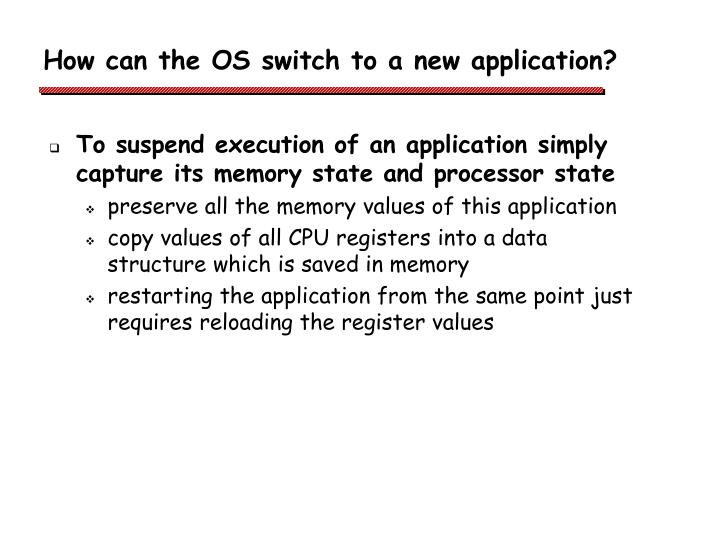 How can the OS switch to a new application?