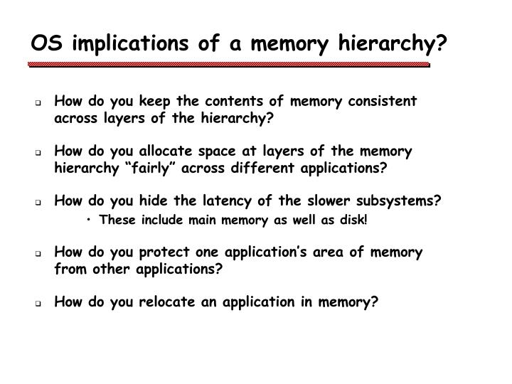 OS implications of a memory hierarchy?