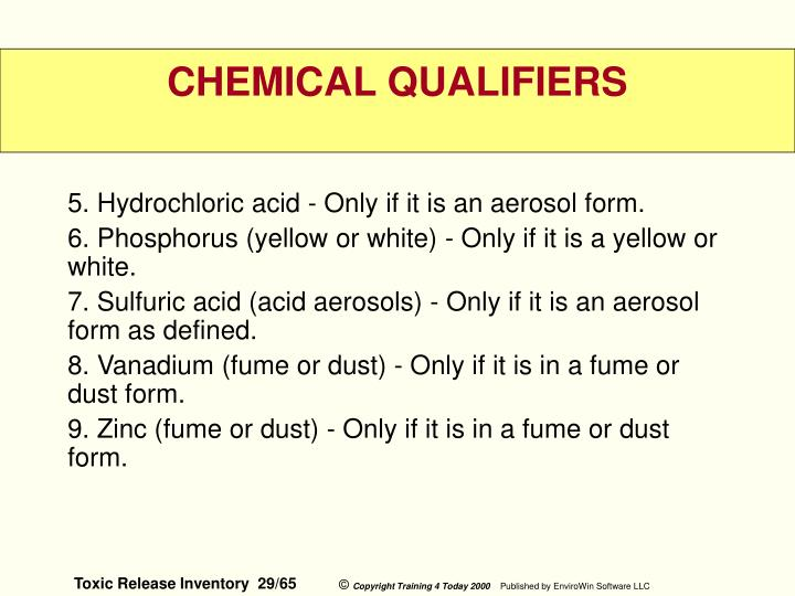 5. Hydrochloric acid - Only if it is an aerosol form.