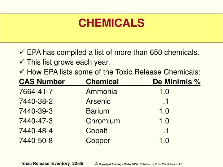 EPA has compiled a list of more than 650 chemicals.