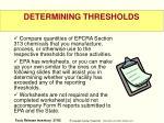 determining thresholds