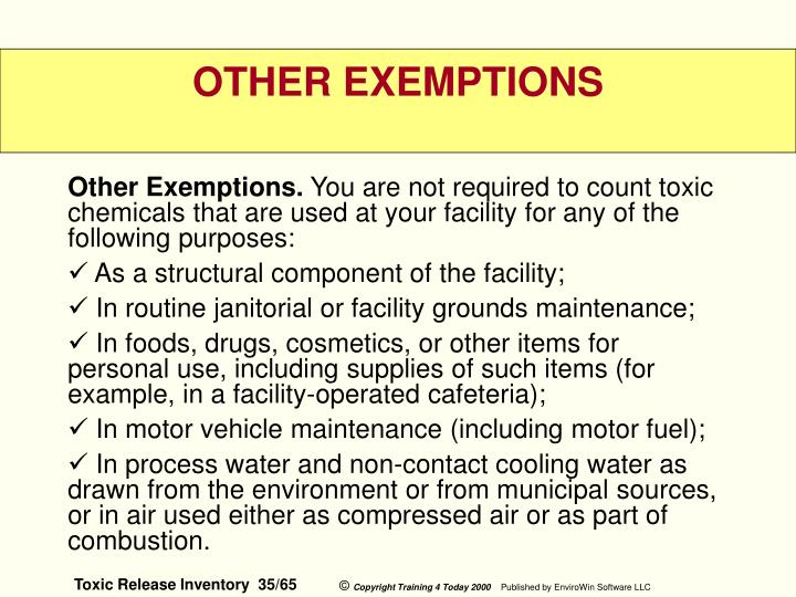 Other Exemptions.