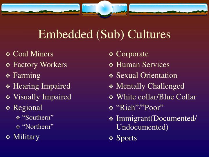 Embedded sub cultures