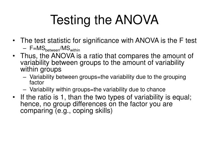 Testing the ANOVA
