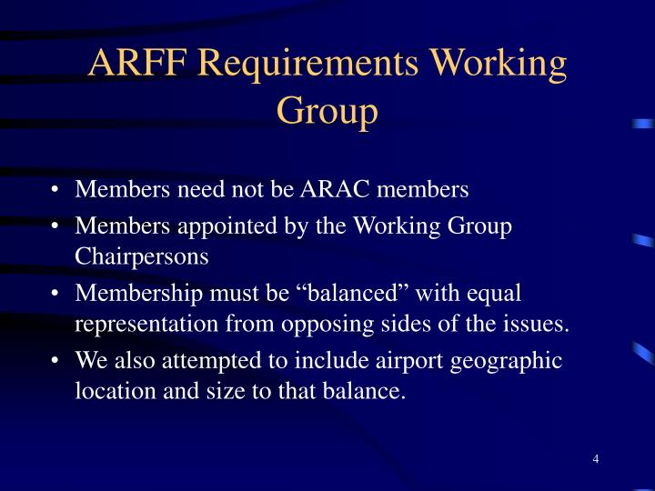 ARFF Requirements Working Group