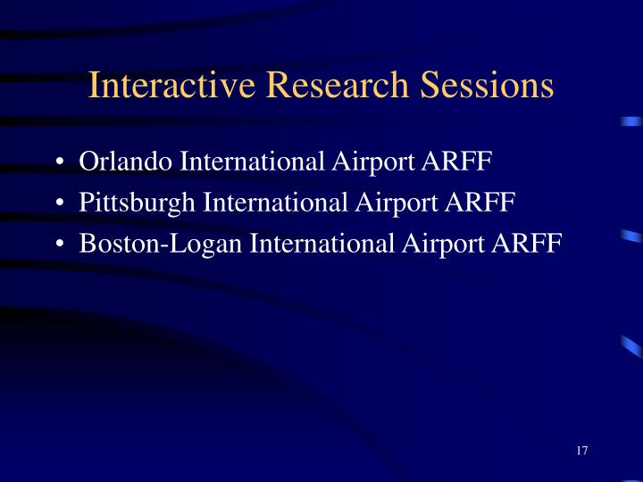 Interactive Research Sessions