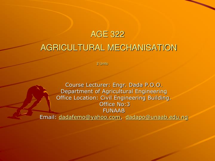 age 322 agricultural mechanisation 2 units